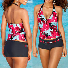 Ladies high quality tankini set women's top and briefs swimwear set floral printed bathing suit two pieces suit free shipping
