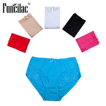 Buy FUNCILAC Womens Underwear Cotton Plus Size Seamless Panties Mid Waist Briefs Knickers Lingerie Underpants 5pcs/Lot