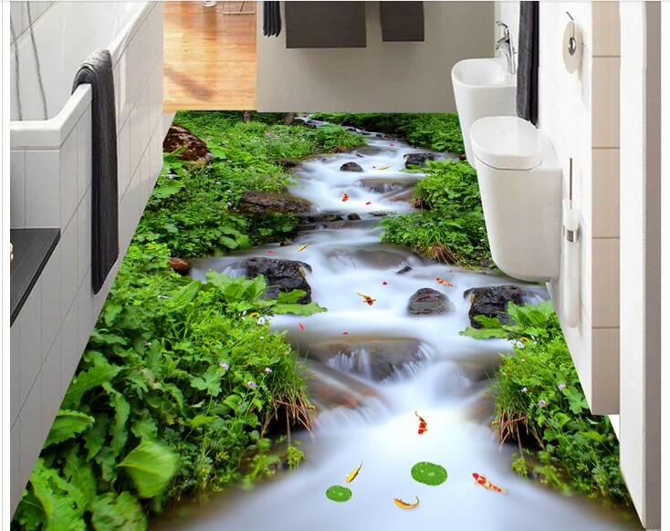 Custom photo 3d flooring mural self - adhesion wall sticker 3 d mountain streams rivers falls painting 3d room murals wallpaper<br>