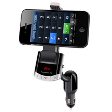 Mobile Phone Holder Style Bluetooth Handsfree Car Charger with FM Transmitter LCD Display Car Kit Support U Disk and USB Charge