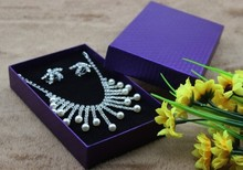 Free shipping wholesale 30pcs/lot 15*9.5*2.6CM Big Pedant Gift Box Purple Necklace Earring Jewellery Set Packing 800g paper