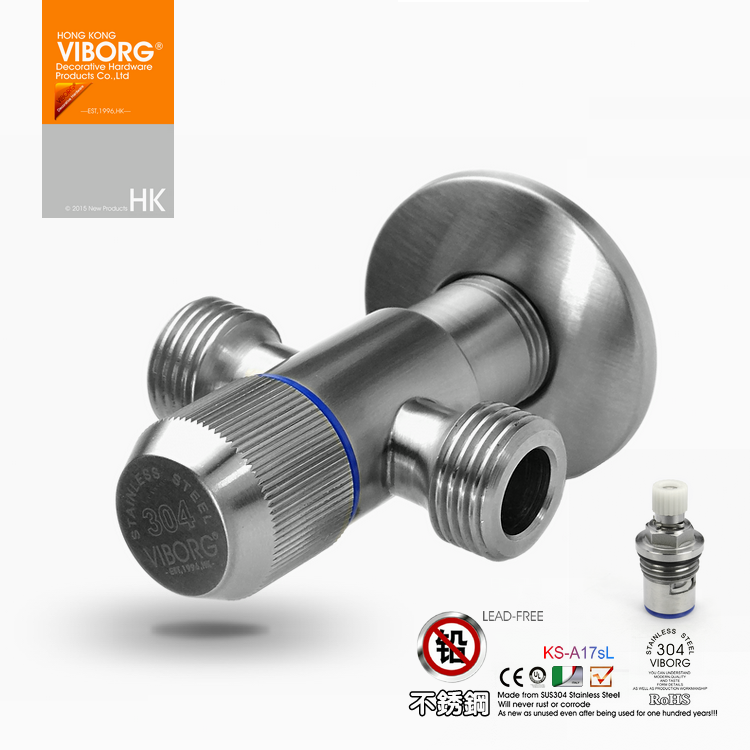VIBORG Deluxe SUS304 Stainless Steel Casting Lead-free three way Angle Valve Angle Stop Valves, KS-A17sL<br><br>Aliexpress