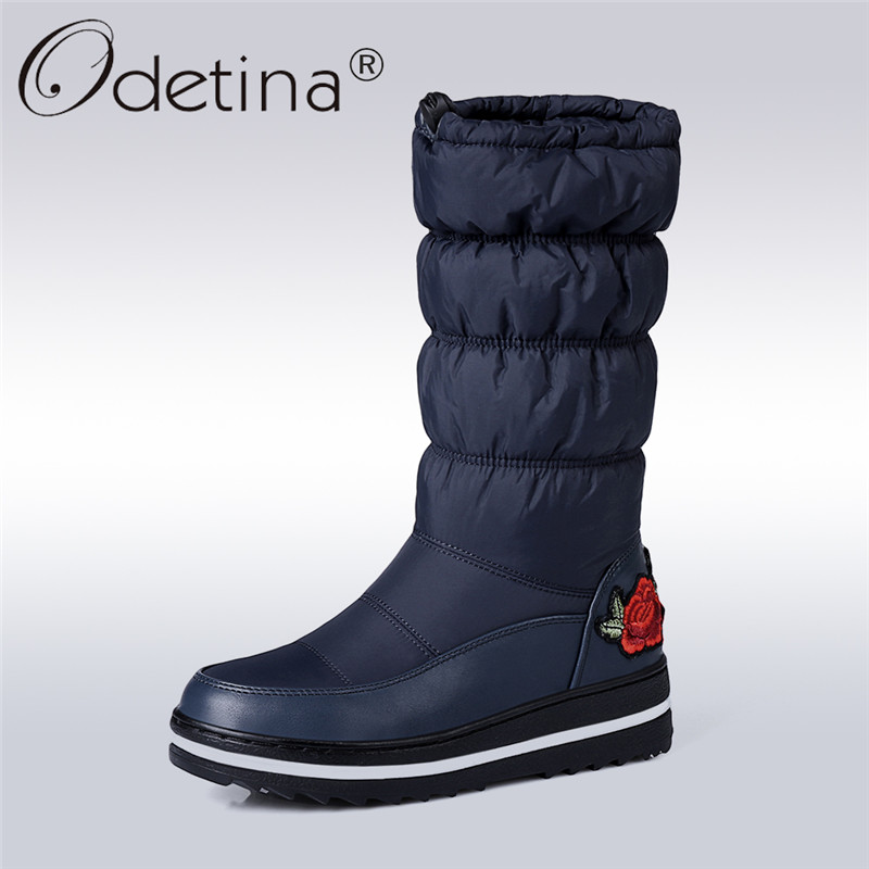 Odetina 2017 Fashion Platform Snow Boots Women Round Toe Mid Calf Floral Boots Flat Thick Sole Fur Winter Warm Shoes Big Size 44<br>
