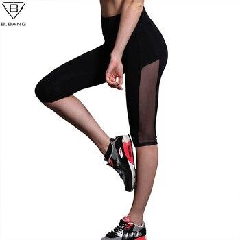 B. BANG Femmes Noir de Course Pantalon Sexy Maille Patchwork Genou Longueur Leggings Élasticité Sport Jogging Collants Yoga Remise En Forme