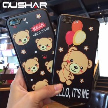 Buy QuShar Cute Cartoon Bear Pattern Case iphone 6 6s 7 8 plus Soft TPU Phone Case Black Back Cover Apple iphone 8 Slim Case for $4.99 in AliExpress store