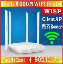 EU/AU/US/UK PLUG, Chin-Firmware 2.4GHz 600Mbps Wireless Router for big House office, Tenda N600 600M WiFi Router WISP Client AP