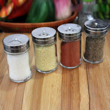 Hot Sale 4 Pcs/Lot Glass Pepper Bottle Multifunction Rotating Lid Design Salt Bottle Spice Storage Free Shipping(China)
