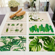 Cotton Linen Green Leaf Printed Table Dishware Place Mats For Dinner Kitchen Accessories Cup Wine mat