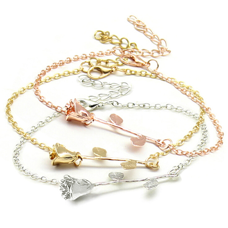 Women Girls Rose Flower Chain Bracelet Charm Elegant Delicate Adjustable Cuff Bangle Jewelry Wristband Gift