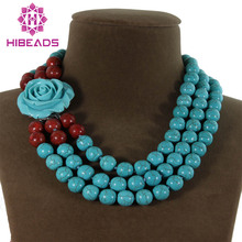 Free Shipping 3 Rows Round Spong Coral Stone Necklace Stone Beads Fancy Ladies Jewelry Anniversary Gifts TN076