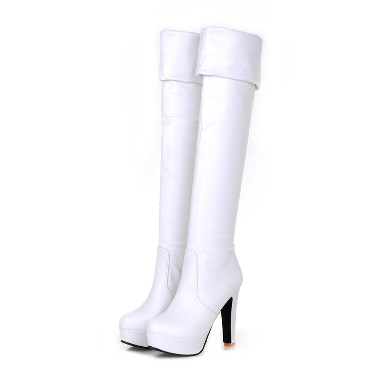 European knight style comfortable autumn over knee high boots fold platform black brown white high-heeled womens riding boots<br>