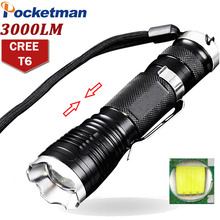 LED Flashlight 3000 Lumens CREE XM-L T6 5 Modes Zoomable  Lampe Torche Flashlight Belt Clip Tactical LED Torch Rechargeable ZK50