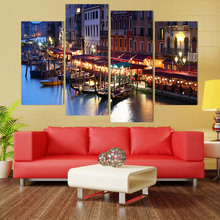 Canvas Painting 4 Piece Canvas Art City Venice Italy Water HD Printed Home Decor Wall Art Poster Picture for Living Room XA041C