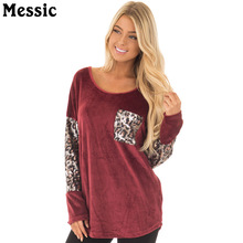 Messic Casual Loose Scoop Neck Leopard T Shirt Women 2017 Autumn Pocket Tee Shirt Femme Long Sleeve Patchwork Female T-shirts(China)