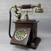 Fashion telephone vintage wood phone household fitted landline phone Blue Backlight+Handsfree+Caller ID