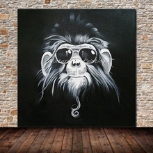 Mintura Oil Painting Glasses Gorillas Hand Painted Canvas Paintings Wall Pictures For Home Decor Wall Art Cartoon Animal Picture(China)