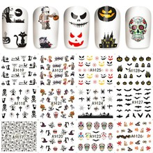 12 sheets Halloween style design Nail Art Water Transfer decals NAIL STICKER SLIDER TATTOO Nail Accessories beauty tools A1128