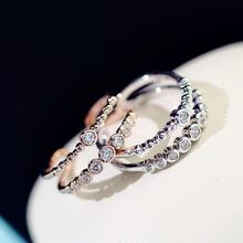 Double layer white/rose ring women bijoux adjustable fashion jewelry wholesale Micro pave gift(China)