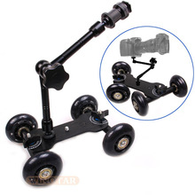 "Black DSLR Skater Wheel Camera Truck Top Dolly Kit +11"" Articulate Magic Arm(China)"
