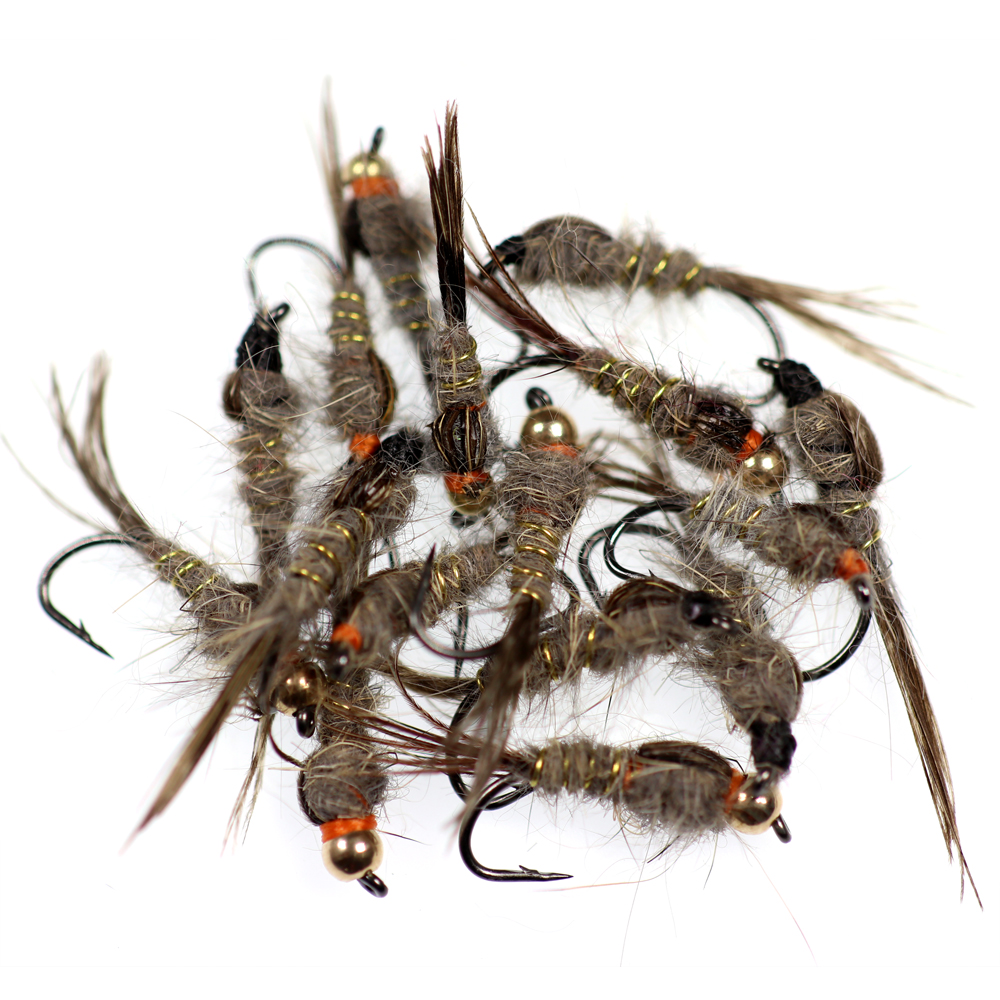 10, 12 Nymphs mix of sizes; 8 Gold Ribbed Hare's Ear Nymph Bead Head Natural