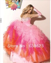 AQ026   Real Picture Colorful Rainbow Quinceanera Dress