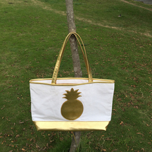 Wholesale Blanks Pineapple Canvas Tote Bag Large Shopping Bag with Gold Straps DOM103514