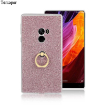 Xiaomi Mix Cover Luxury Glitter Bling Phone Case For Xiaomi Mix Case Shine Protector Cell Phone Soft Back Cover With Metal Ring(China)
