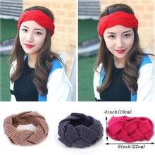 New Fashion Winter Woolen Braid Headband For Women Adult Handmade Knitted Warm Ears Turban Hair Band Headwrap