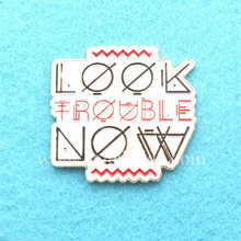 Die Struck Look Now Text Metal Logo Label Soft Enamel Lapel Pins Customized(China)