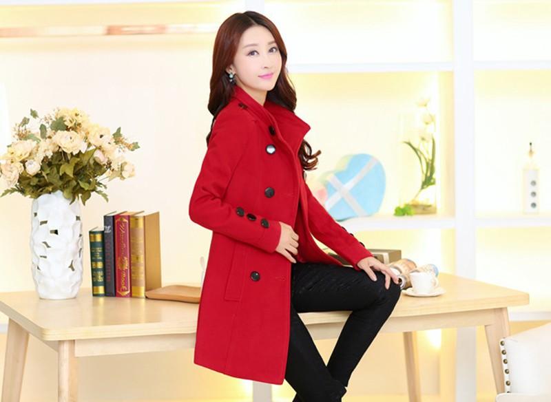 2016 New Women Trench Woolen Coat Winter Slim Double Breasted Overcoat (8)