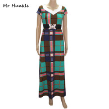 Brand Mr Hunkle Women's Brief Maxi Dress Sashes Plaid Short Sleeve Vestidos Summer Sexy Night Party Dresses MH0024(China)