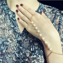 New  Hand make simulated Pearl Jewelry Women  charm bracelets & bangles Simple Style Beads Chains Finger Bangle For Women B15
