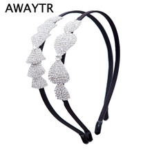 AWAYTR Luxury Wedding Hair Ornaments Crystal Hair Accessories Women Tiaras and Crowns Bowknot Headband Headwear Party Gifts