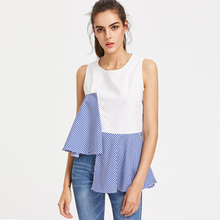 2017 Summer New Fashion Grid Splicing Women Tops Chic Asymmetric Sleeveless T-shirt Female Cool Round Neck White T shirts Blusas