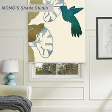 MOMO Painting Bird Window Curtains Roller Shades Blinds Thermal Insulated Blackout Fabric Custom Size ,PRB set273-276