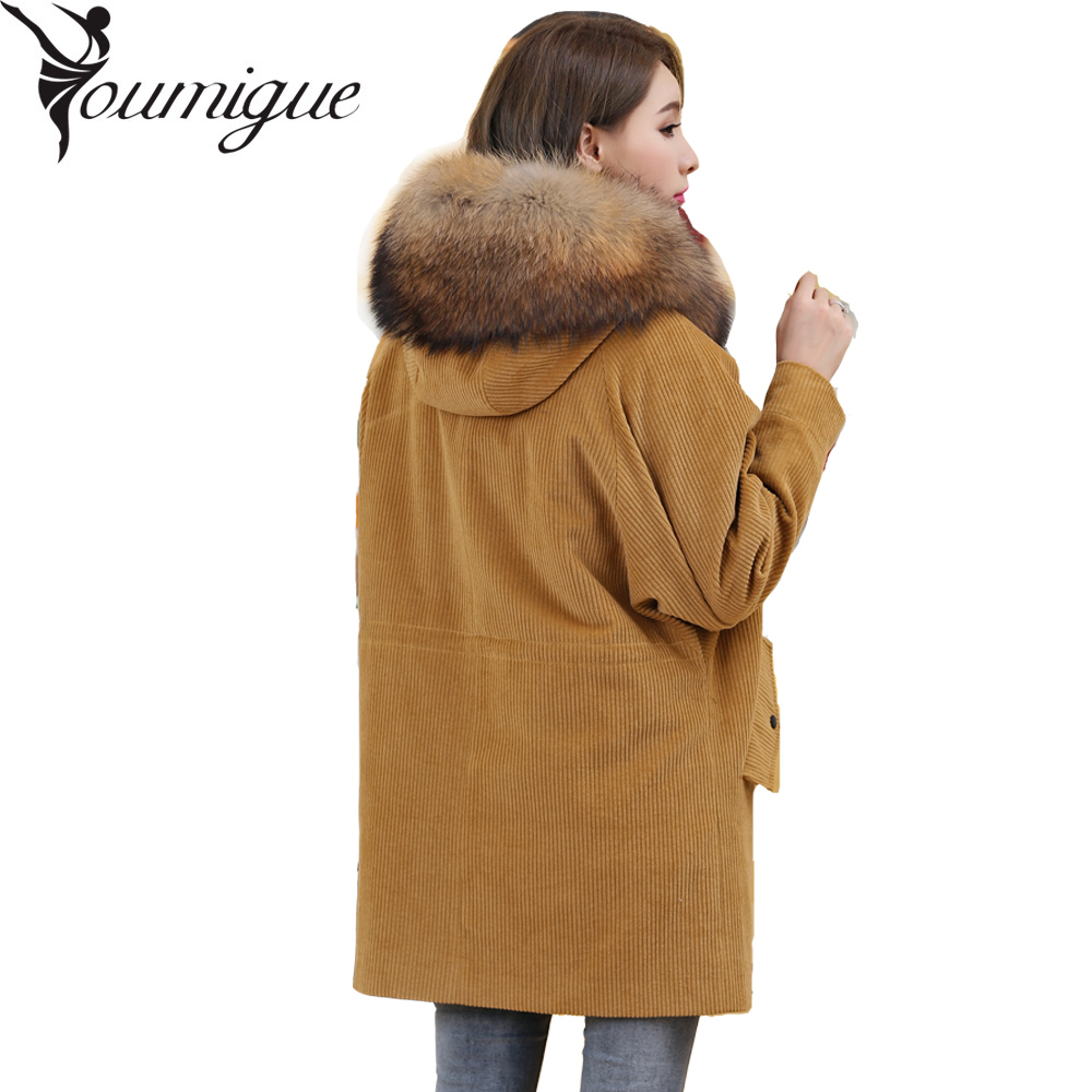 YOUMIGUE 2017 Winter jacket coat women parka Corduroy fur coat real raccoon fur collar Real natural Lamb fur liner brand style(China)