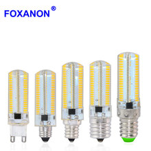 Foxanon Dimmable Led Light E11 E12 E14 E17 G9 110V 100V 152Leds Corn Bulb Silicone Lamps Crystal Candle For Chandeliers Lighting