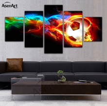5 Panel Fire Football Picture Colorful Painting for Living Room Soccer Fan Home Decor Wall Art Canvas Prints Unframed(China)