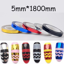 5pcs Nail Sticker Rolls Stripping Tape Black Red Blue Silver Gold Waves Line Strips Decor Decals Wraps Nail Art Decorations