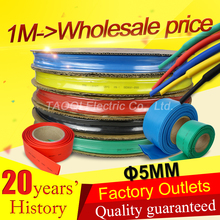 1meter/lot 5MM Heat Shrink Tube Tubing Wrap Heatshrink shrinkable tube Cable Sleeve Wire Kit  Pls use Heat Gun to Shrink