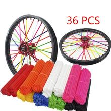 36pcs Colorful Florescent Motorcycle Wheel Rim Cover Spoke Skins Wrap Tubes Universal for Dirt Bike ATV Quad Mini Motor
