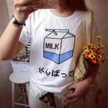 Fashion Summer Lady Girls Basic Tee T Shirts Tops Women Japanese Harajuku Cute Soft Milk Box Print Loose Short Sleeve T-Shirts