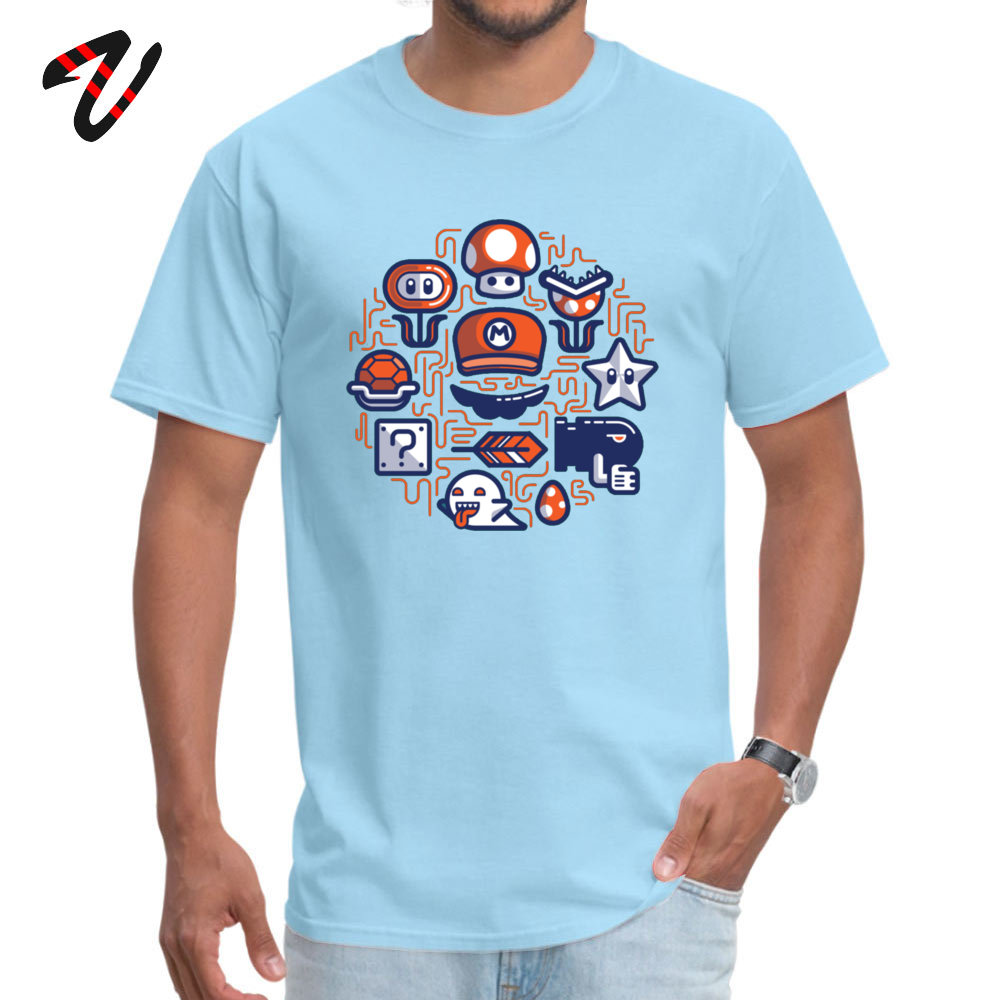 Company Mario Essentials Funny Short Sleeve T-Shirt Summer Fall O Neck 100% Cotton Tops & Tees for Men Tops Tees Design Mario Essentials 6888 light