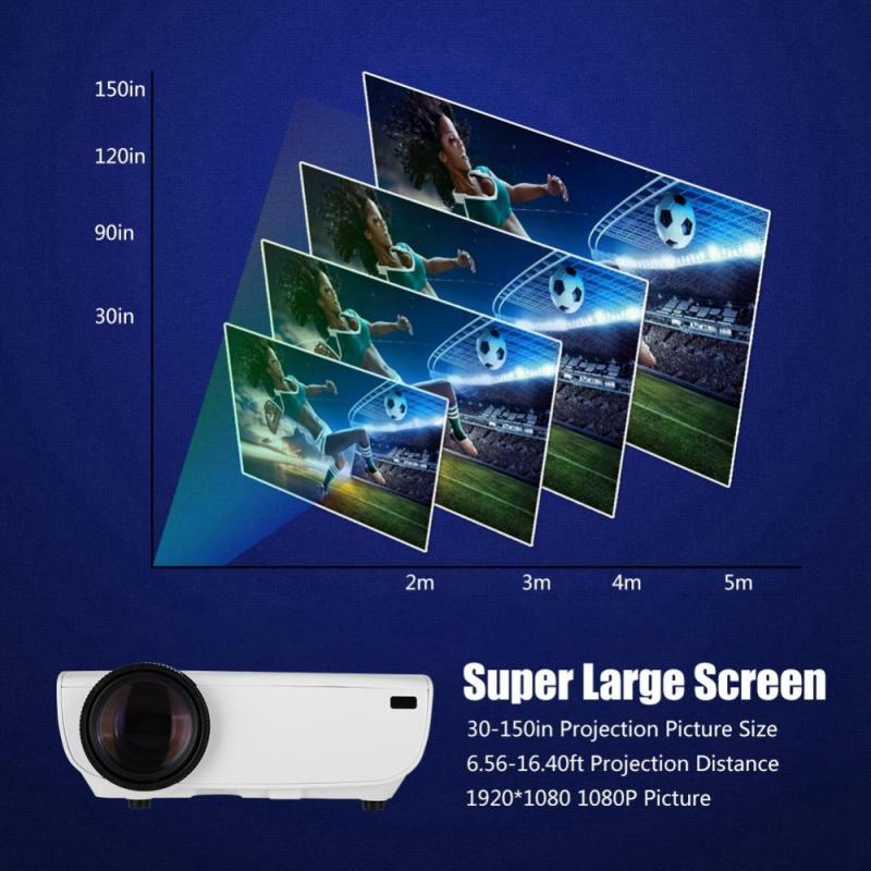 Projector 1080P Home LED Projector  Correction 30-150in Full HD Projector -EU Plug