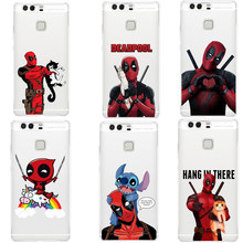 Cartoon Unicorn Deadpool Super Cool Marvel Hero Transparent clear TPU Phone Case For Huawei P8 Lite 2017 P9 Lite P10 Plus Cover(China)