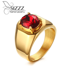 SIZZZ Men's Vintage Ring Add Free Gift Box Stainless Steel Dragon Claw Red Stone Gothic Biker Rings(China)