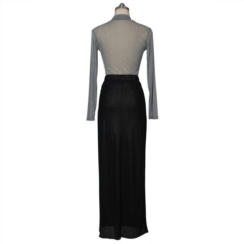 women shiny silver tops and high slit skirt set-2