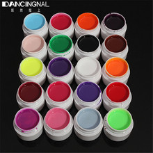 Pro 20Pcs Nail Art UV Gel Mix Solid Pure Colors Acrylic For Builder Polish Lamp Tips Solon DIY Manicure Design Tools Sets Random