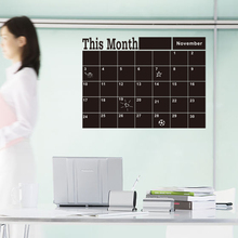 Monthly chalkboard Chalk Board Blackboard Removable Wall Sticker Month Plan Calendar Memo DIY Decal Stickers Muraux Pegatinas(China)