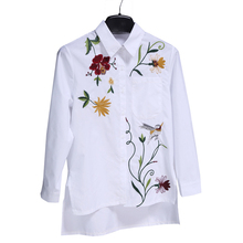 Buy White&skyblue Women Blouses Embroidery Female shirt Casual Full Sleeve Turn-down collar Spring Summer print Tops Women Clothing for $10.31 in AliExpress store